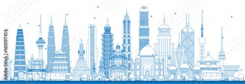 Fototapeta Outline Famous Landmarks in Asia. obraz