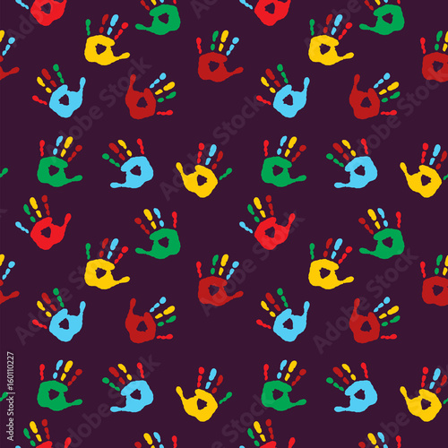 Stylish seamless background with different palm prints