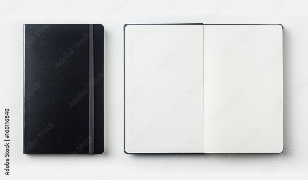 Fototapeta Business concept - Top view collection of black notebook on white background desk for mockup
