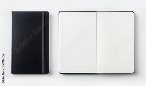 Foto  Business concept - Top view collection of black notebook on white background des