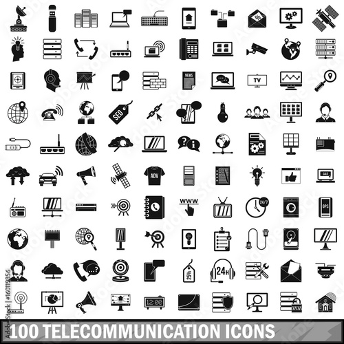 Cuadros en Lienzo  100 telecommunication icons set, simple style