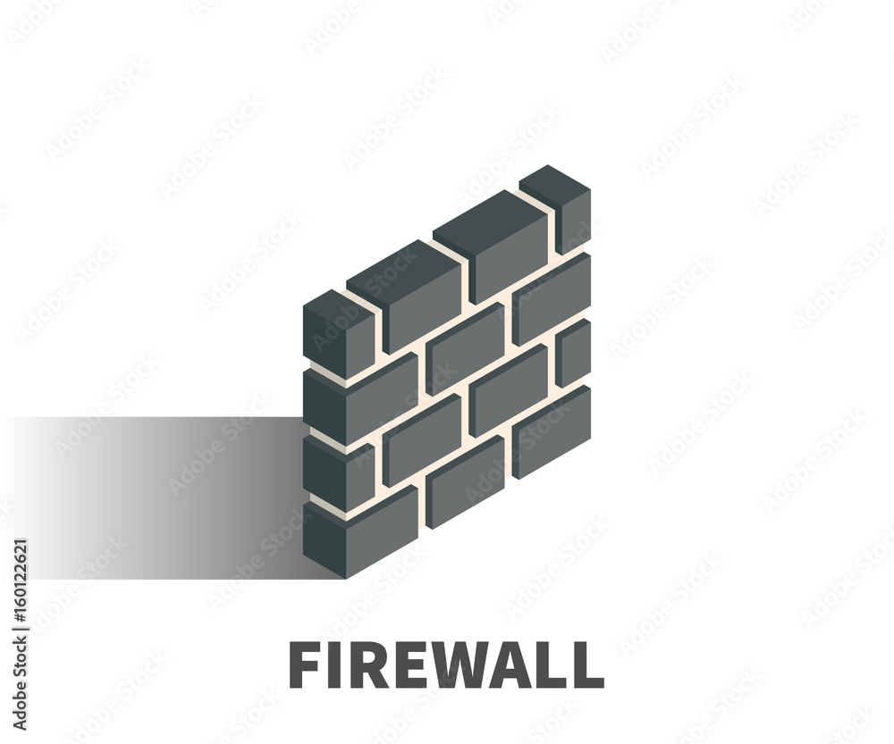 Fototapeta Firewall icon, vector symbol in isometric 3D style isolated on white background.