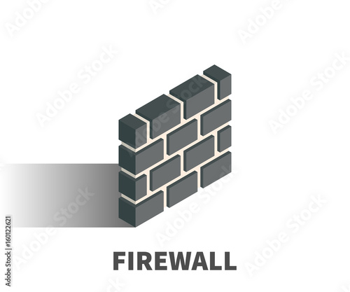 Fotografía Firewall icon, vector symbol in isometric 3D style isolated on white background