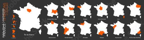 Obraz Carte de France / 13 régions et outre-mer - fototapety do salonu
