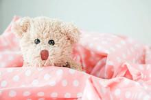 Cute Little Teddy Bear Is Sleeping In The Bed On Pink Blanket,Teddy Bear Is Relaxing