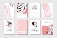 Hand Drawn Vector Abstract Artistic Freehand Textured Unusual Cards Set Template Collection With Tropical Palm Leaves In Pastel Colors Isolated On White Background