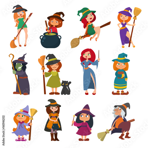 Fotomural  Cute little witch hag harridan vixen with broom cartoon magic Halloween young girls character costume hat vector illustration