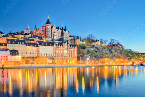 Fototapety, obrazy: Cityscape of Stockholm city at night in Sweden