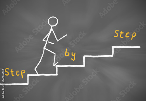 Step by Step Career at a Blackboard Tablou Canvas