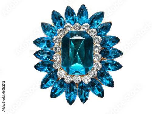 Canvas Print jewelry with bright crystals brooch luxury fashion