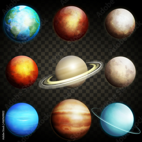 Fotomural Planets of the solar system isolated on a transparent background