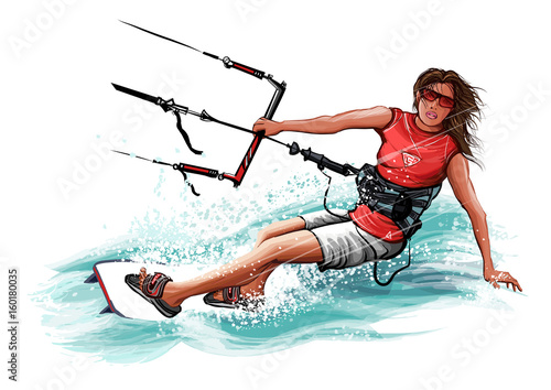 Tuinposter Art Studio Young woman kiteboarding