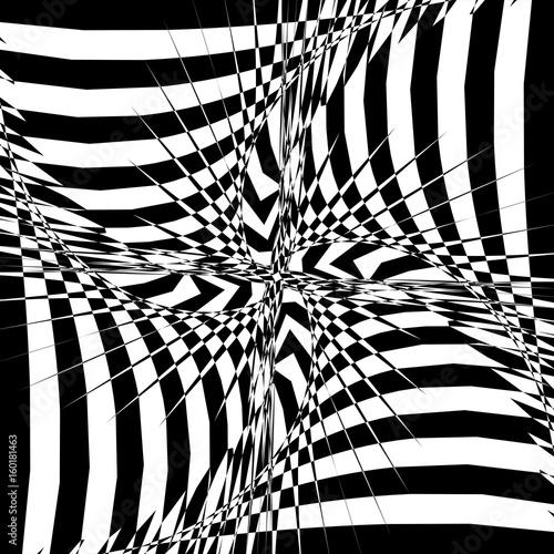 Plakat Projekcja czarno-białych pasów na Torusie. Ilustracja wektorowa