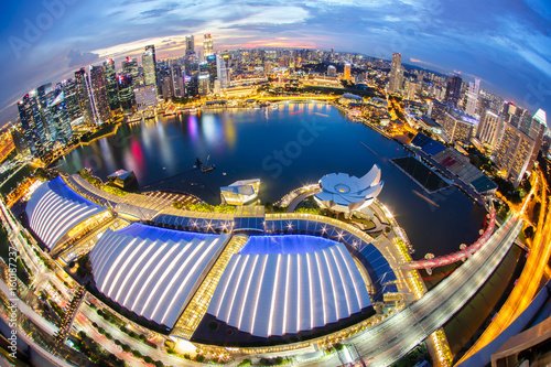 Photo  Landscape of the Singapore financial district and business building, Singapore C