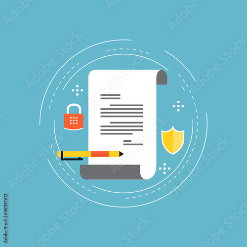 Fotomural  Policy insurance, signing contract, confidential document, certificate, diploma flat vector illustration design