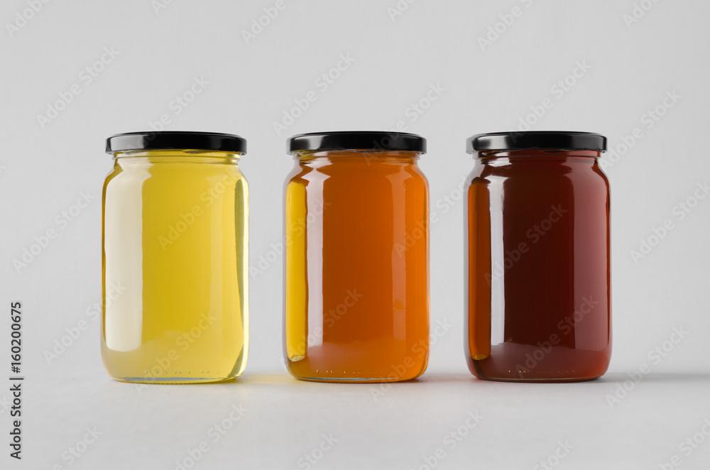 Fototapety, obrazy: Honey Jar Mock-Up - Three Jars