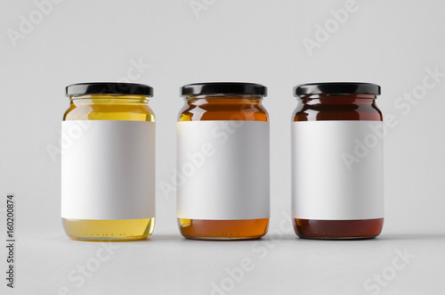 Honey Jar Mock-Up - Three Jars. Blank Label Slika na platnu