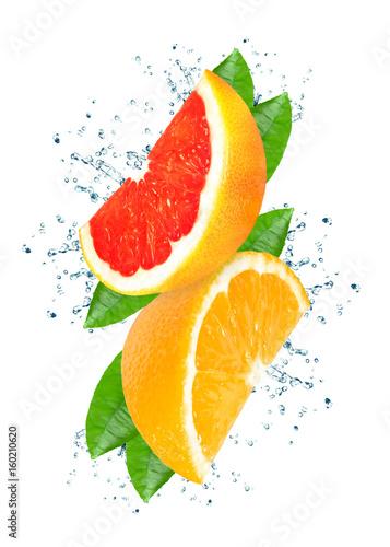 Fototapety, obrazy: Citrus splash water isolated