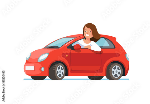 Foto op Aluminium Cartoon cars Vector flat illustration of a happy young woman driver sitting rides in his red car. Design concept of buy a new car