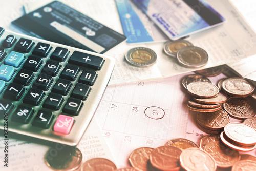 Business Concept With Coins Deadline Calendar Calculator Credit