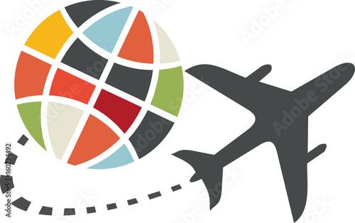 Icône de voyage en avion Canvas Print