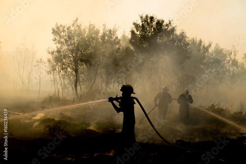 Obraz na płótnie Smoke field and fireman after wildfire sihouette.