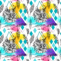 Naklejka seamless pattern sketching of cat.