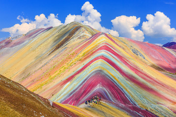 Vinicunca, region Cusco, Peru. Montana de Siete Colores lub Rainbow Mountain.