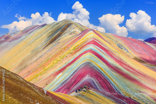 Photo Stands South America Country Vinicunca, Cusco Region, Peru. Montana de Siete Colores, or Rainbow Mountain.