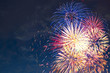 canvas print picture - Beautiful colorful fireworks on sky.
