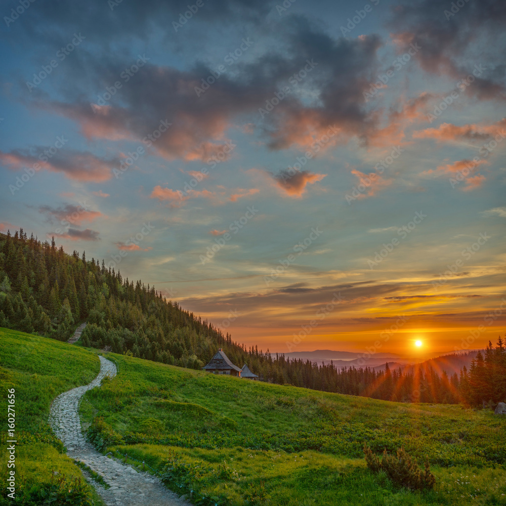 Fototapety, obrazy: Wschód słońca na Hali Gąsienicowej, krajobraz górski, Tatry