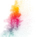 abstract color powder splatted on white background,Freeze motion of color powder exploding