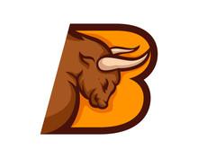 Modern Bull B Letter Alphabet Sports Logo