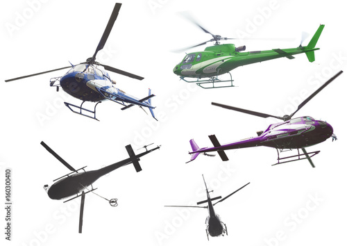 Poster Helicopter helicopter set isolated on white background