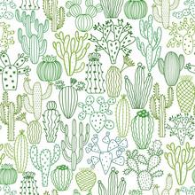 Vector Cactus Seamless Pattern...