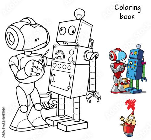 New robot with a screwdriver repairs an obsolete broken robot ...