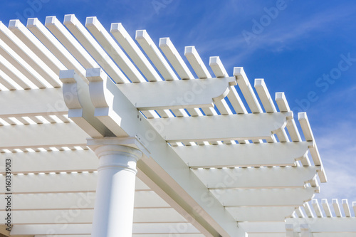 Beautiful House Patio Cover Against the Blue Sky. Fototapeta
