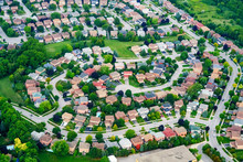 Aerial View Of Houses In Residential Suburb, Toronto, Ontario, Canada.