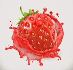 Panel Szklany Owoce Strawberry juice. Fresh fruit, 3d vector icon
