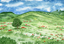 Watercolor Landscape With Hill...