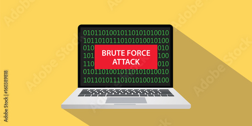 Fotografía brute force attack concept illustration with laptop comuputer and text banner on