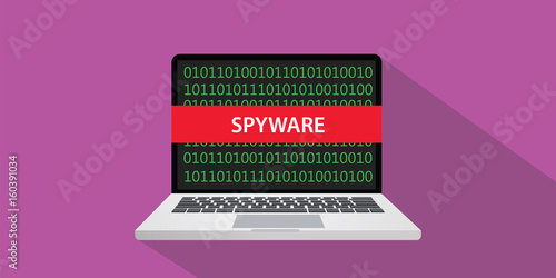 Fotomural spyware concept illustration with laptop comuputer and text banner on screen wit