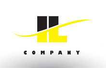 IL I L Black And Yellow Letter Logo With Swoosh.