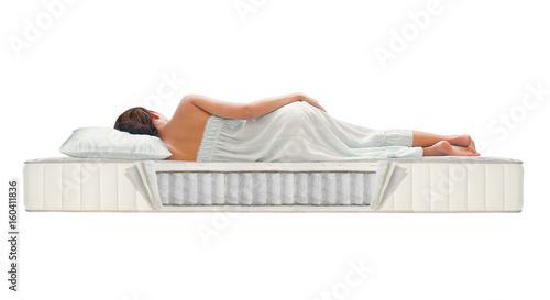 Fotomural Woman sleeping on mattress