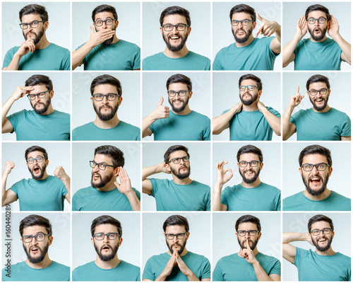 Fotografie, Obraz  Set of young man's portraits with different emotions