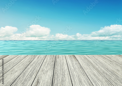Wooden table, wooden floor by the seashore