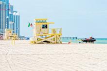 Lifeguard Tower #11 On Haulover Beach With Jetski Ready, Miami, Florida
