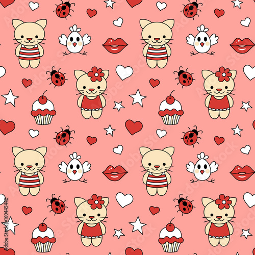 Seamless pattern of kittens and cupcake.
