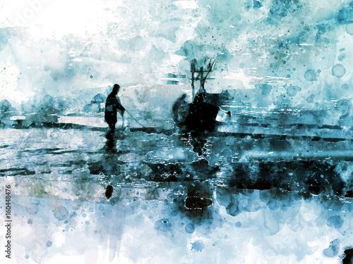 Łódź rybacka w morzu na białym tle, cyfrowy akwarela obraz