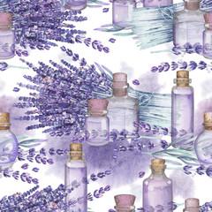 Fototapeta Lawenda Watercolor lavender oil